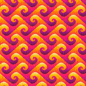 mini wave mosaic - purple, hot pink, orange, yellow, white