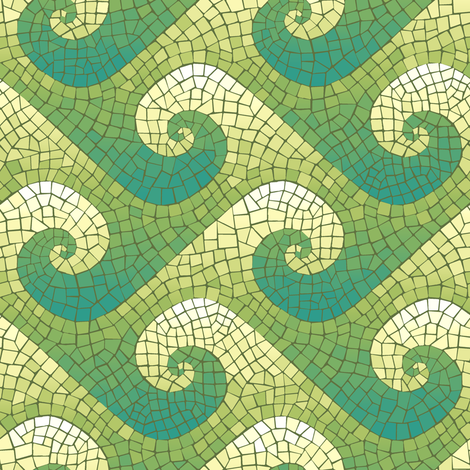 mini wave mosaic - teal, green, yellow, white  fabric by weavingmajor on Spoonflower - custom fabric