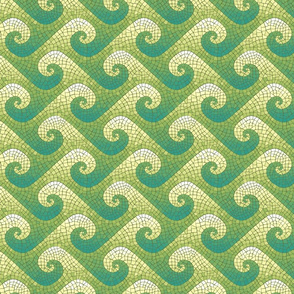 mini wave mosaic - teal, green, yellow, white
