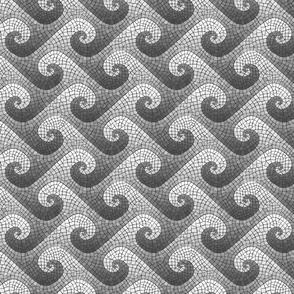 mini wave mosaic - greyscale