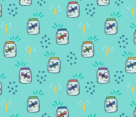 Fireflies - seafoam fabric by jaymehennel on Spoonflower - custom fabric