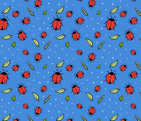 Lady bugs - blue fabric by jaymehennel on Spoonflower - custom fabric