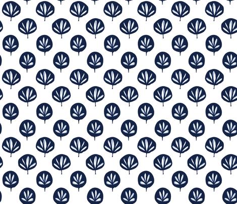 Fan Leaf - indigo fabric by jillbyers on Spoonflower - custom fabric