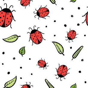lady bugs - white
