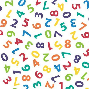 large ditsy numbers - rainbow