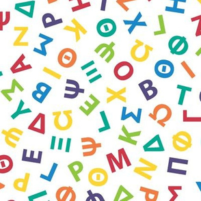 large ditsy Greek alphabet - rainbow