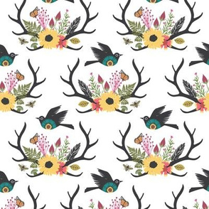 Floral Antlers with Bird - White - Small