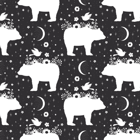 Moonlight Bear - Black & White - Small fabric by bohemiangypsyjane on Spoonflower - custom fabric