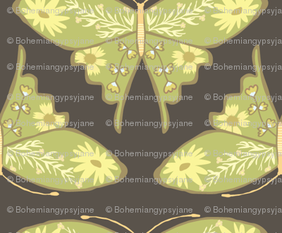 Folk Floral Butterfly - Brown & Green
