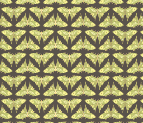 Folk Floral Butterfly - Brown & Green fabric by bohemiangypsyjane on Spoonflower - custom fabric