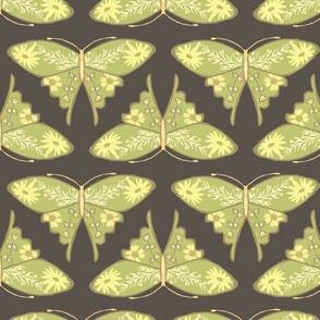 Folk Floral Butterfly - Brown & Green