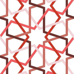 Fivefold geometric continuous lines in red