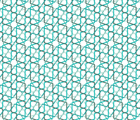 Fivefold geometric continuous line star pattern in teals fabric by tighef on Spoonflower - custom fabric