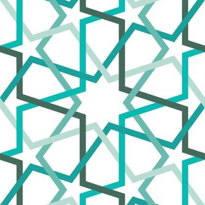 Fivefold geometric continuous line star pattern in teals