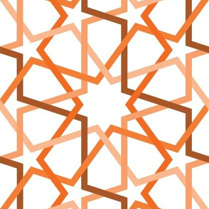 Fivefold gemoetric continuous lines and stars in orange