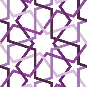 Fivefold geometric continuous lines and stars in purple