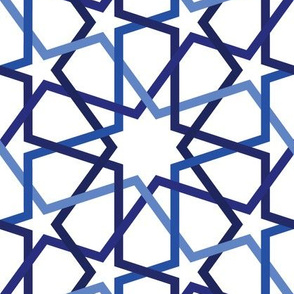 Fivefold geometric continuous lines and stars in navy blue