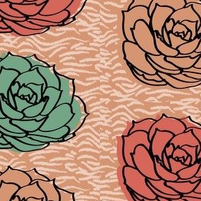 Succulent on Woodcut Background