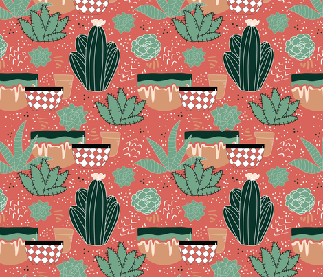 Desert Pots and Cacti fabric by cathleenbronsky on Spoonflower - custom fabric