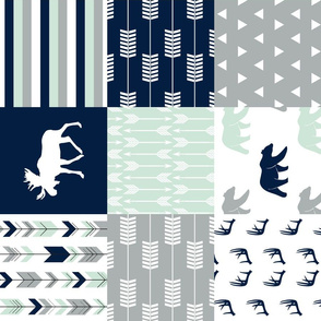 northern lights patchwork wholecloth || bear and moose (90)