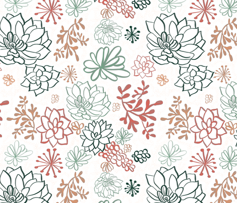 Succulent Pattern fabric by mikelkate on Spoonflower - custom fabric