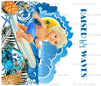 """42""""X36"""" RAISED BY WAVES / SURFER BOY / BLOND DARK GREEN"""