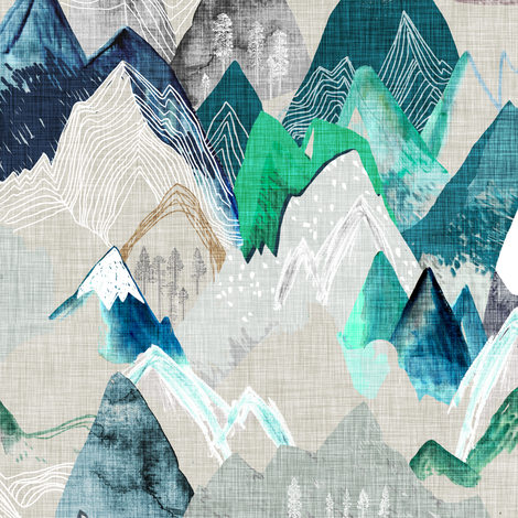 Call of the Mountains  (evergreen) MED fabric by nouveau_bohemian on Spoonflower - custom fabric