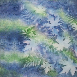 Blue and Green Maple Leaf and Ferns Sunprint