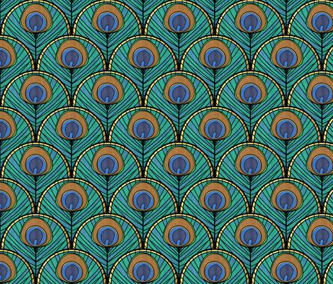 Glitzy Peacock Art Deco Fan Pattern fabric by suzzincolour on Spoonflower - custom fabric