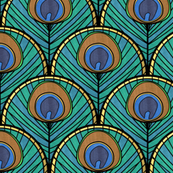 Glitzy Peacock Art Deco Fan Pattern