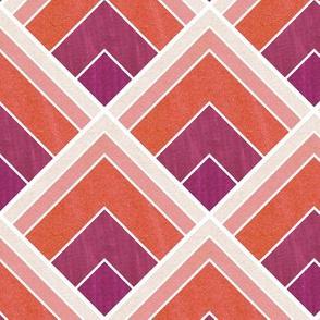 Flowing Warm Ombre Art Deco Pattern