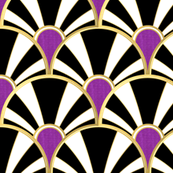 Black, White and Gold Art Deco Fan with Purple