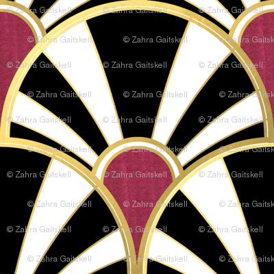 Black, White, Gold and Garnet Art Deco fan