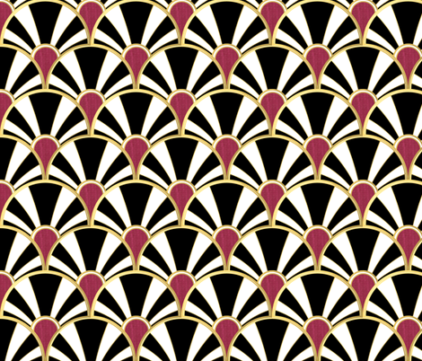Black, White, Gold and Garnet Art Deco fan fabric by suzzincolour on Spoonflower - custom fabric
