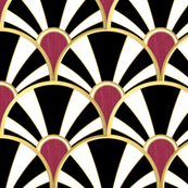 Black, White, Gold and Garnet Deco fan