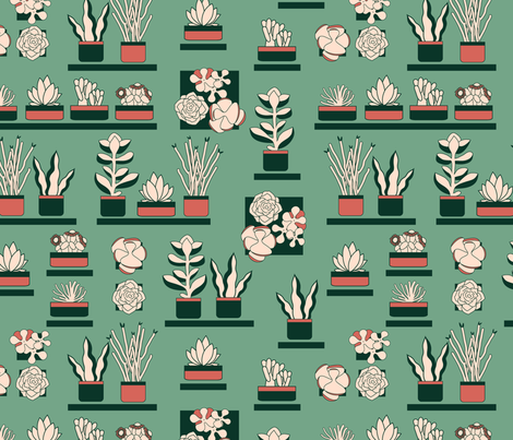succulents_on_my_wall fabric by nanamira on Spoonflower - custom fabric