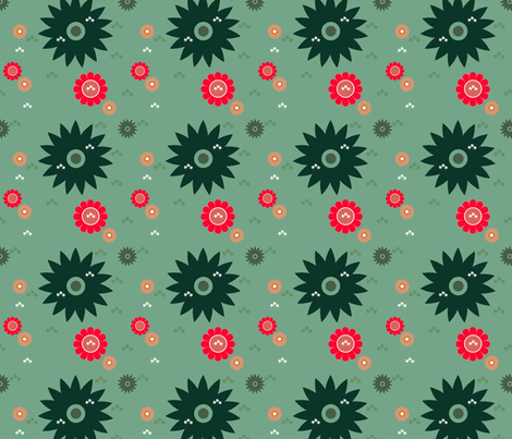 fixed color flower fabric by newlifedesign on Spoonflower - custom fabric