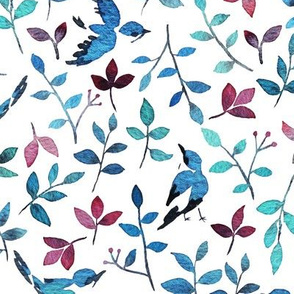 Birds and blooms on white