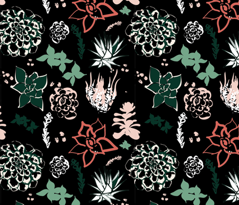 Succulent Design fabric by twyfie on Spoonflower - custom fabric