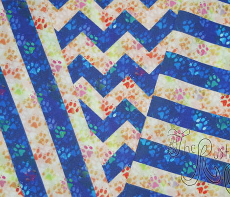 Cosmic dog paw prints chevron - night and day