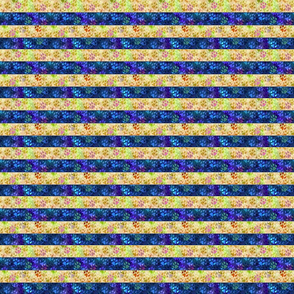 Cosmic dog paw prints horizontal stripes - night and day