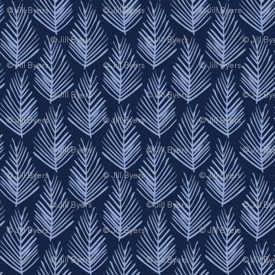 Feather Leaf - Serenity and Indigo