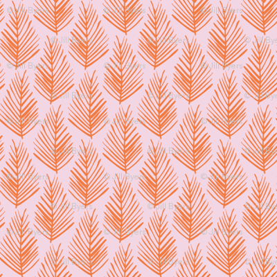 Feather Leaf - Coral and Pink