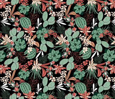 Succulent Garden - Black fabric by heatherdutton on Spoonflower - custom fabric