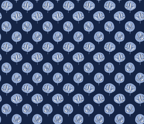Fan Leaf - Serenity and Indigo fabric by jillbyers on Spoonflower - custom fabric