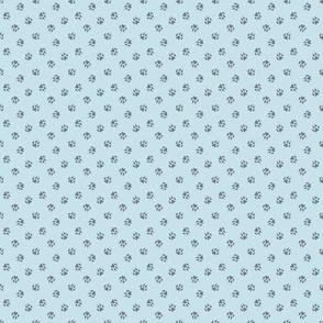 Tiny dog paw prints coordinate - blue