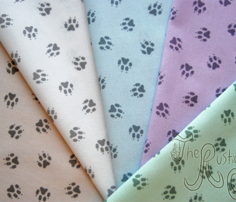 Tiny dog paw prints coordinate - purple