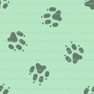 Tiny dog paw prints coordinate - green