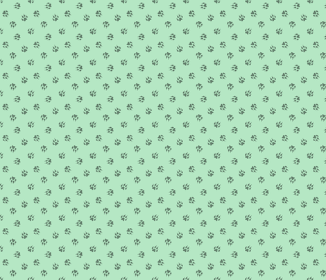 Tiny dog paw prints coordinate - green fabric by rusticcorgi on Spoonflower - custom fabric