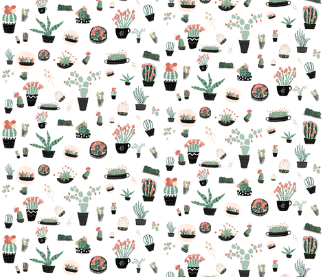 Final_limited color succulents fabric by susibieri on Spoonflower - custom fabric